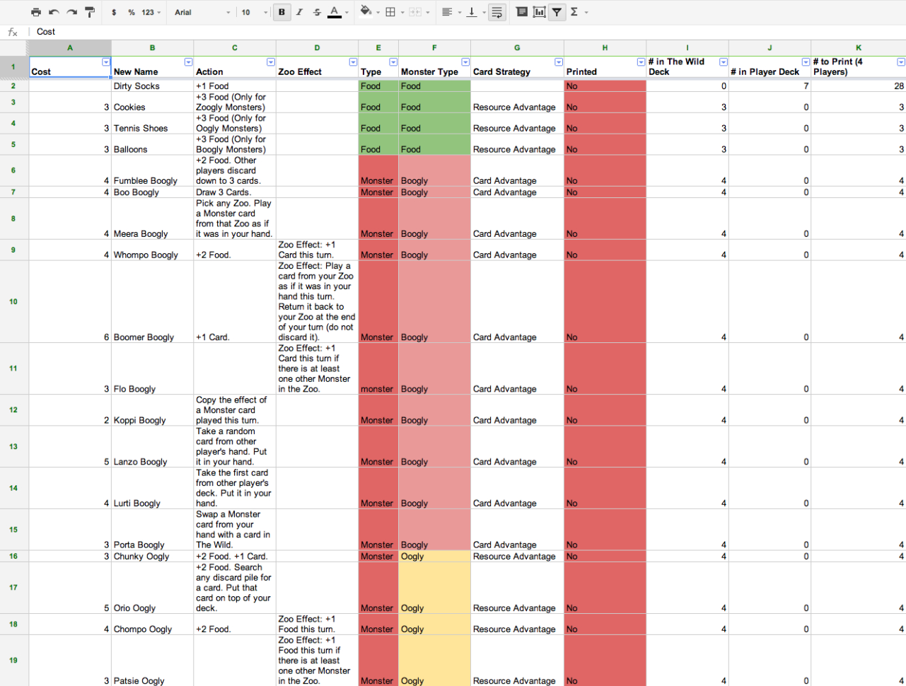 Excel Spreadsheet Games In Excel And Google Docs Spreadsheet Tips For Game Designers  Ruby Cow