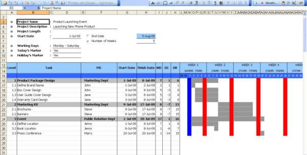 Excel Spreadsheet Gantt Chart Throughout Gantt Chart  Excel Templates