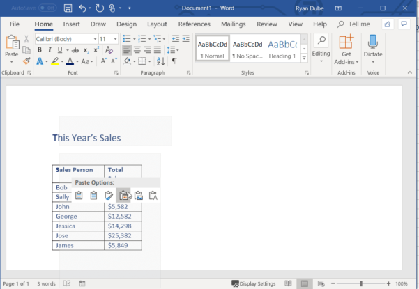 Excel Spreadsheet In Word Intended For How To Link Excel Sheets To Word Documents And Keep It Always Updated