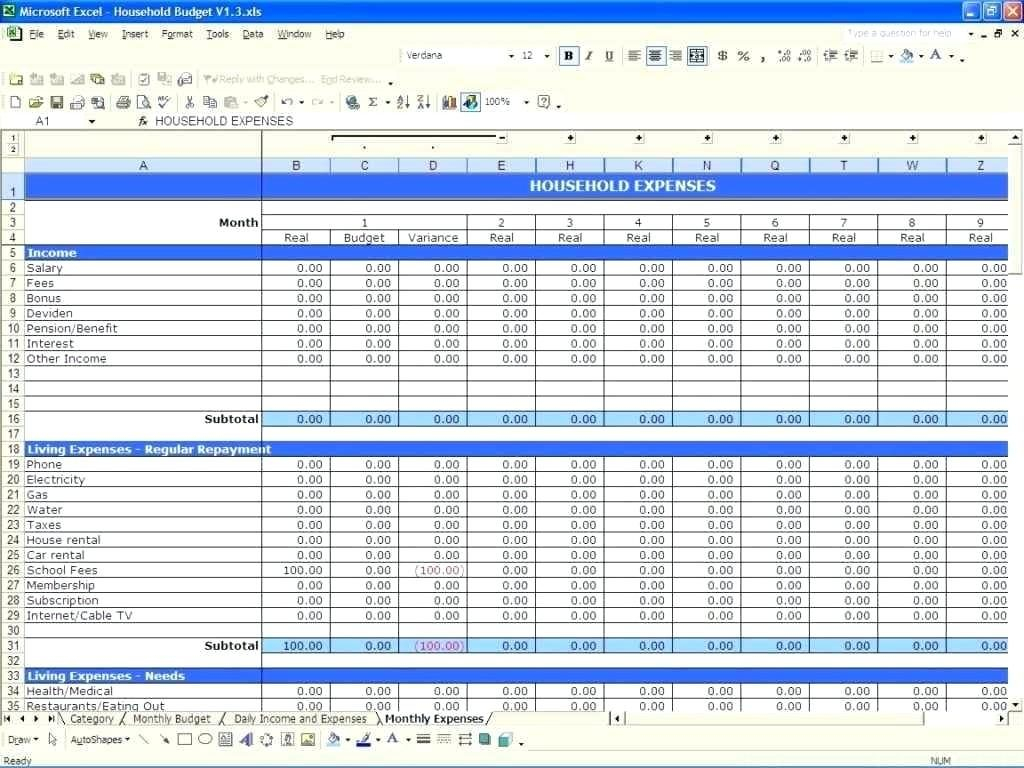 Excel Spreadsheet Income And Expenses Throughout Excel Sheet For Daily Expenses Expense Tracker Spreadsheet Awesome