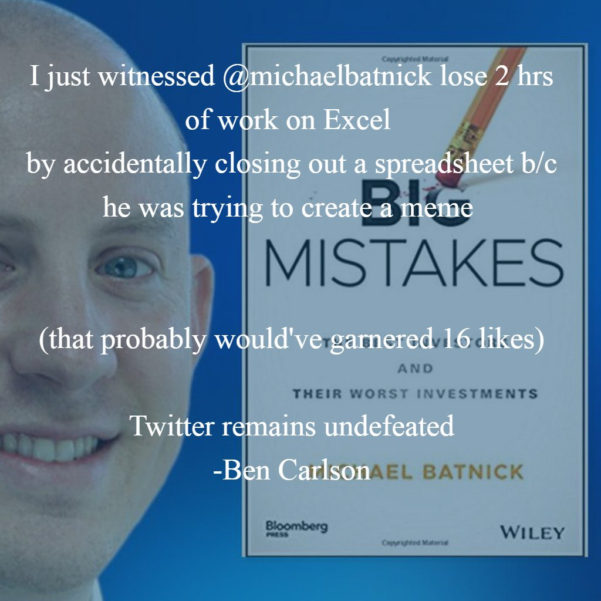 "Excel Spreadsheet Meme Throughout Ben Carlson On Twitter: ""i Just Witnessed @michaelbatnick Lose 2 Hrs"