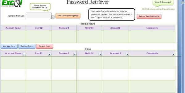 Excel Spreadsheet Password Recovery With Regard To Password Template Excel – Bulat