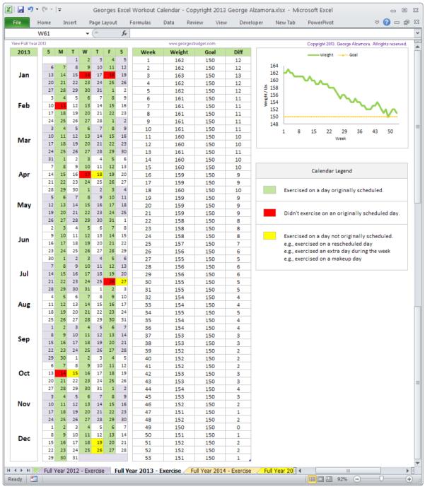 Excel Spreadsheet Schedule Template Inside Excel Fitness Workout Calendar Template  Monthly Calendar Spreadsheet