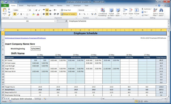 Excel Spreadsheet Schedule Template Pertaining To Free Employee And Shift Schedule Templates
