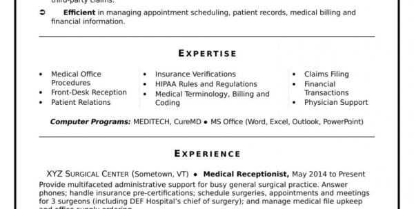 Excel Spreadsheet Specialist Inside Sample Resume For Medical Billing Specialist Resumes And Coding