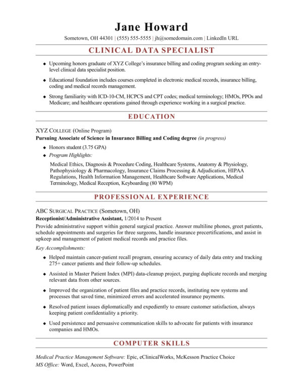 Excel Spreadsheet Specialist Intended For Entrylevel Clinical Data Specialist Resume Sample  Monster