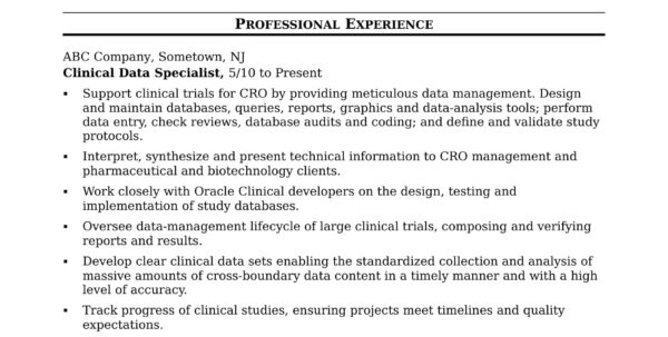 Excel Spreadsheet Specialist Regarding Clinical Data Specialist Resume Sample  Monster