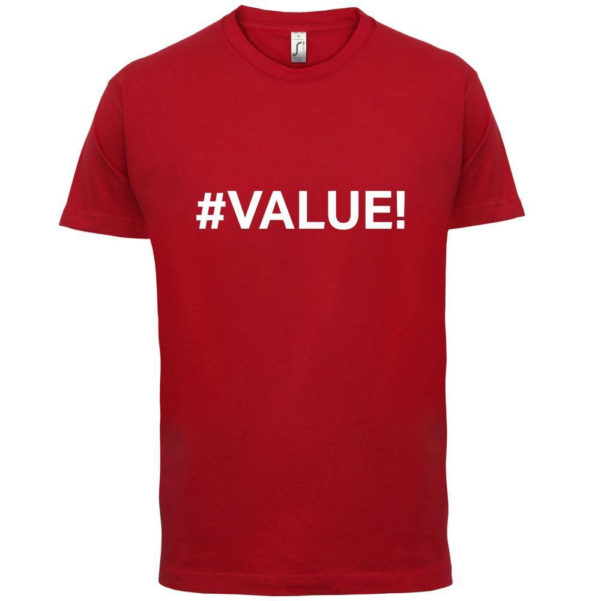 Excel Spreadsheet T Shirt With Value Mens T Shirt Error / Excel / Spreadsheet T Sirt T Shirt Sites