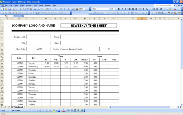 Excel Spreadsheet Template For Timesheet Throughout Excel Timecard Template Best Of Funky Free Time Sheet Timesheet With