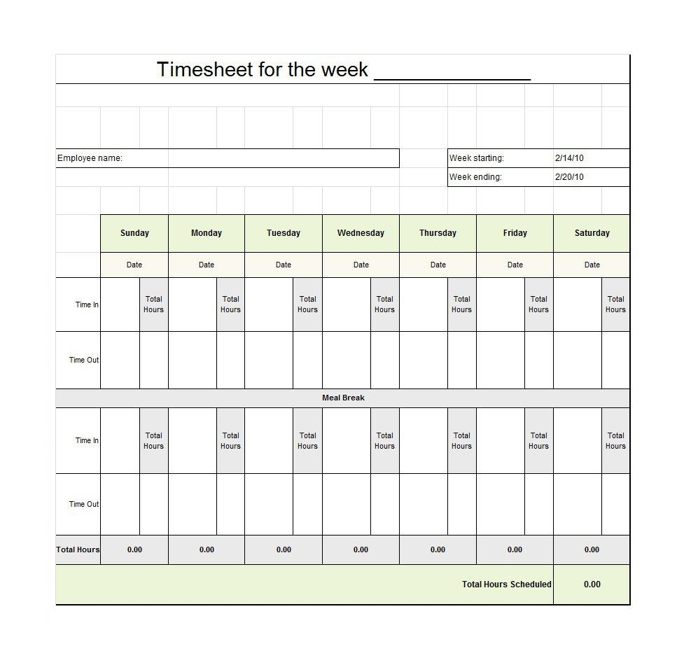 Excel Spreadsheet Template For Timesheet Within 40 Free Timesheet / Time Card Templates  Template Lab