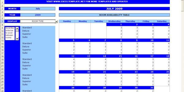 Excel Spreadsheet Templates Calendar In Booking Calendar  Excel Templates