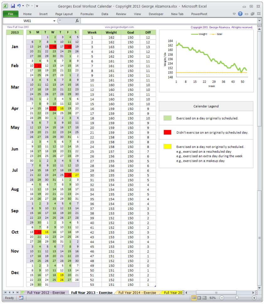 Excel Spreadsheet Templates Calendar In Excel Fitness Workout Calendar Template  Monthly Calendar Spreadsheet