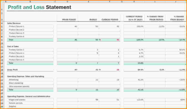 Excel Spreadsheet Templates Uk Throughout Profit And Loss Template Uk Pl Sheet Famous P L Report Image