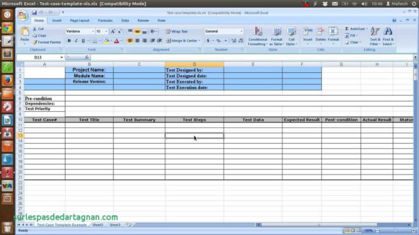 Excel Spreadsheet Test Intended For Sample Test Case Template Inspirational Of Software Report Excel
