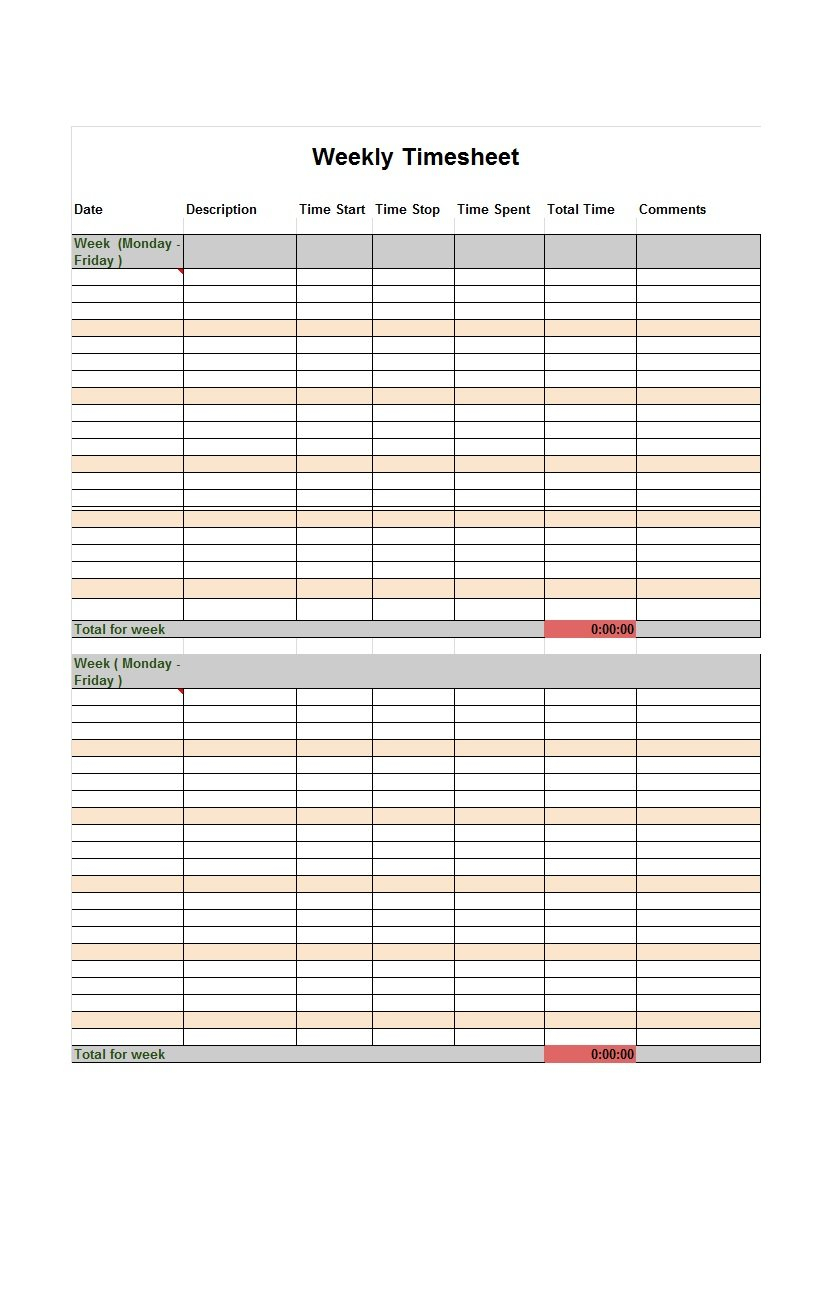 Excel Spreadsheet Timesheet For 40 Free Timesheet / Time Card Templates  Template Lab