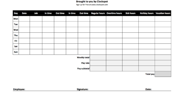 Excel Spreadsheet Timesheet In Free Time Tracking Spreadsheets  Excel Timesheet Templates