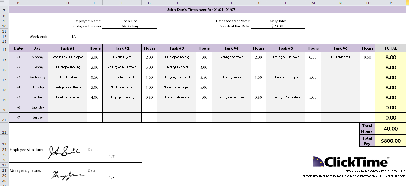 Excel Spreadsheet Timesheet Pertaining To Excel Time Template  Kasare.annafora.co