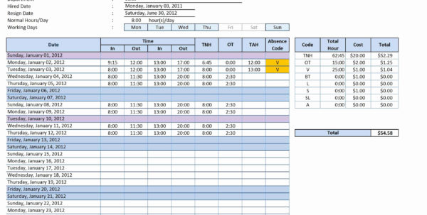 Excel Spreadsheet Timesheet With Weekly Timesheet Template Word And Timesheet Excel Timesheet