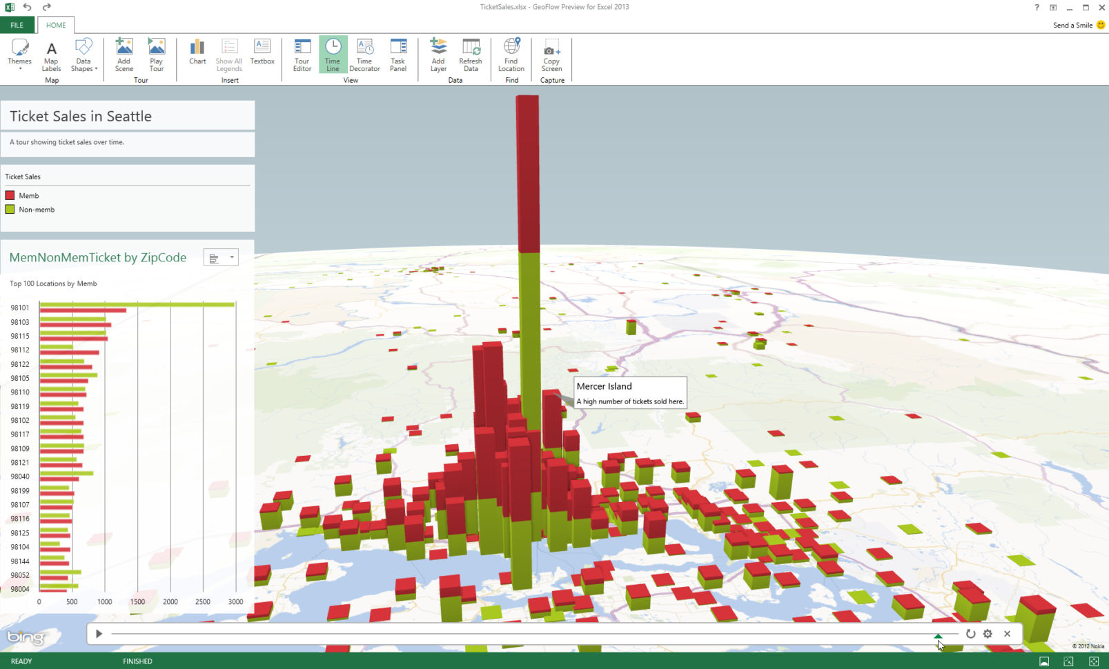 """Excel Spreadsheet To Map Within Public Preview Of Project Codename """"Geoflow"""" For Excel Delivers 3D"""
