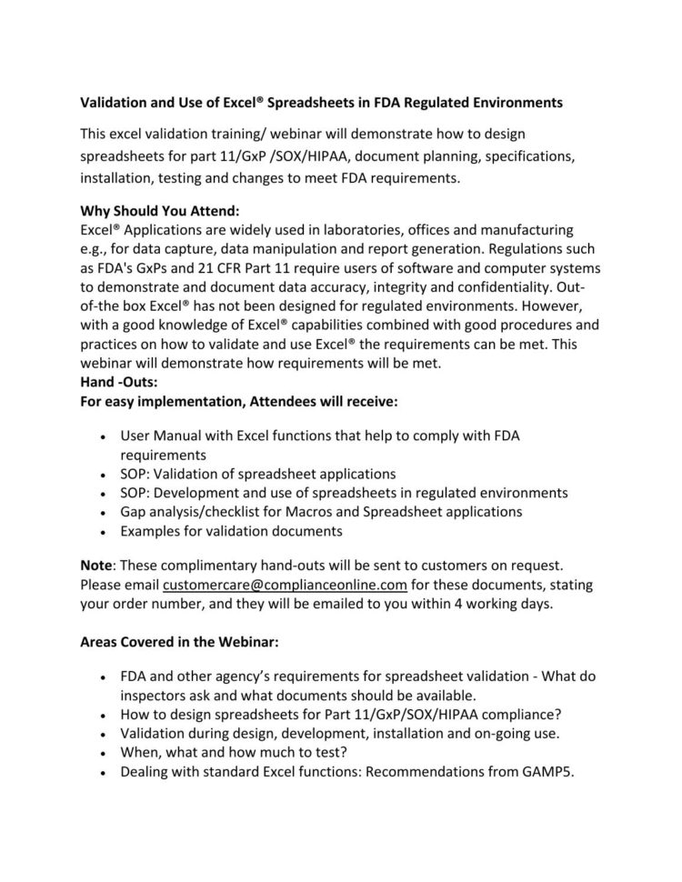 Excel Spreadsheet Validation Fda Intended For Validation And Use Of Excel® Spreadsheets In Fda Regulated