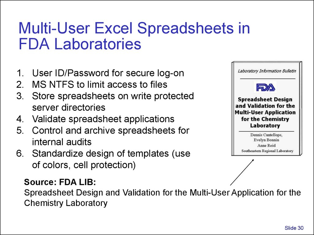 Excel Spreadsheet Validation Fda With Regard To Validation And Use Of Exce Spreadsheets In Regulated Environments