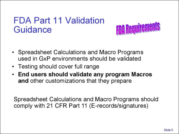 Excel Spreadsheet Validation For Fda 21 Cfr Part 11 Inside Validation And Use Of Exce Spreadsheets In Regulated Environments