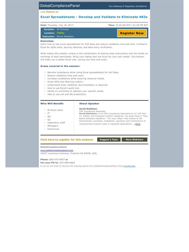 Excel Spreadsheet Validation For Fda 21 Cfr Part 11 Inside Winnovative Html To Pdf Converter For  Www.winnovative Software