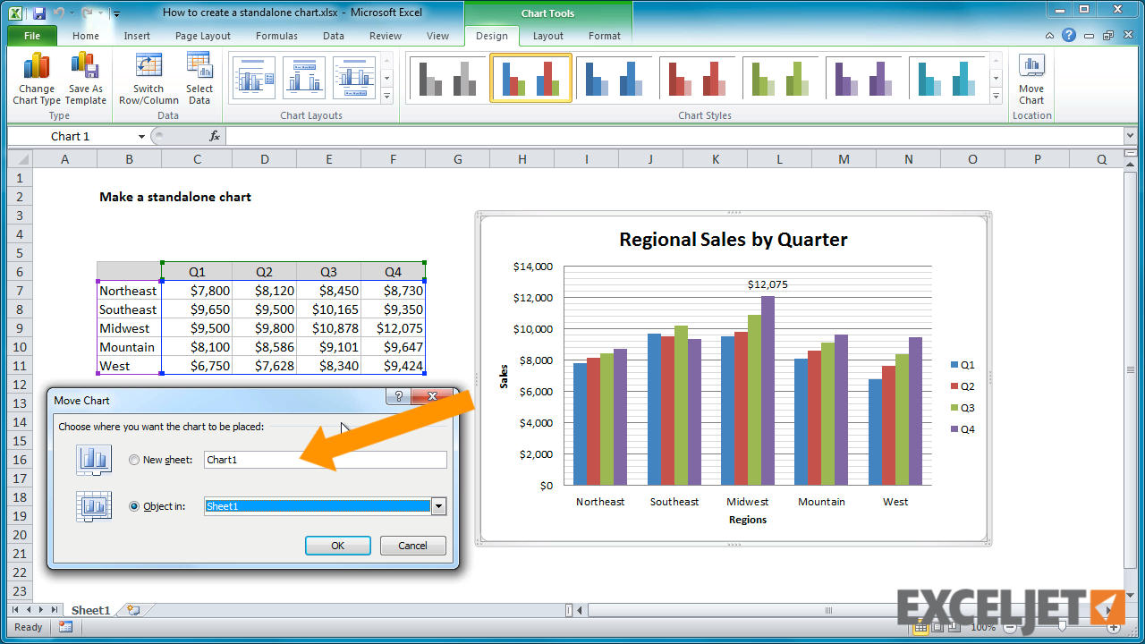 Excel Spreadsheet Video Tutorial Regarding Excel Tutorial: How To Create A Standalone Chart