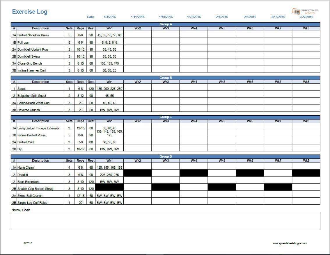 Excel Spreadsheet Workout Plan In Workout Log Template Spreadsheetshoppe Spreadsheet Wk Sheet Plan