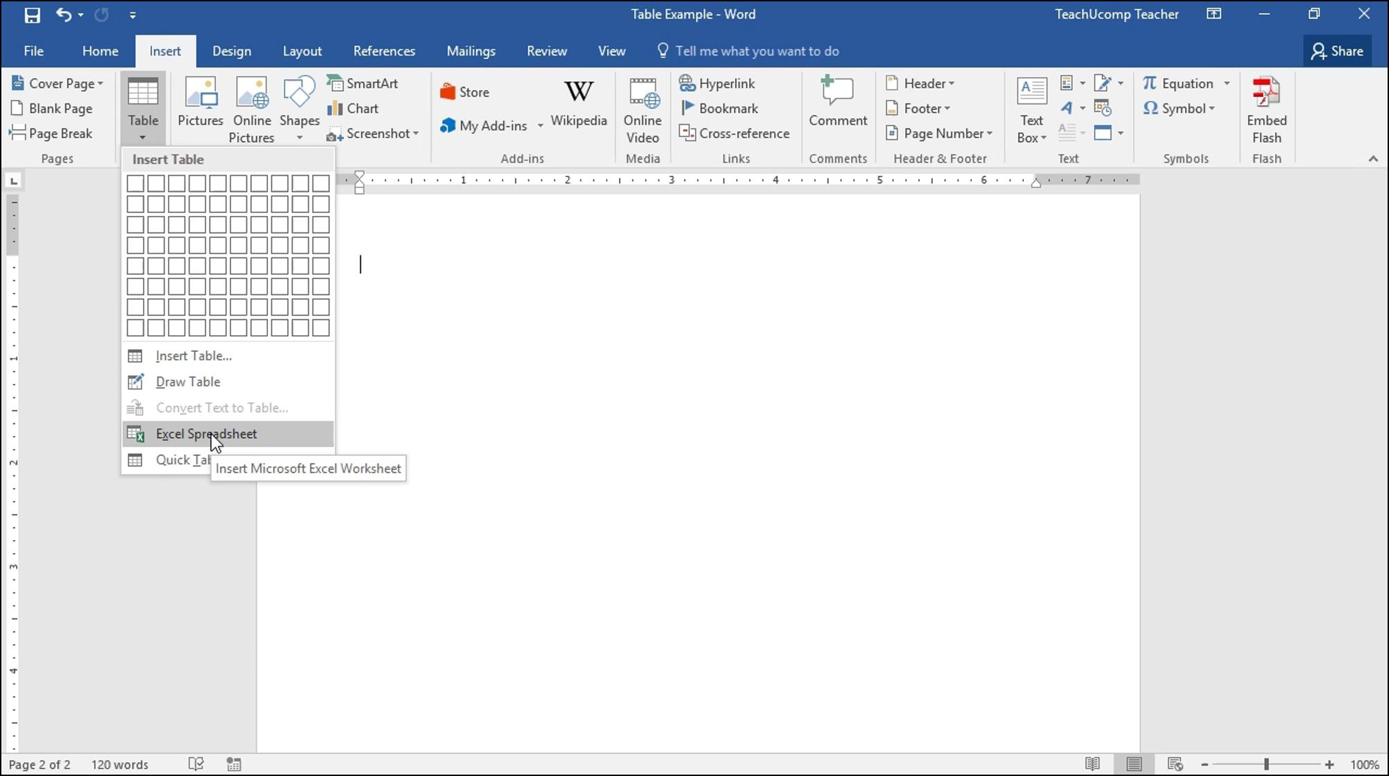 Excel Spreadsheet Worksheet Inside Insert An Excel Worksheet Into A Word Document  Tutorial