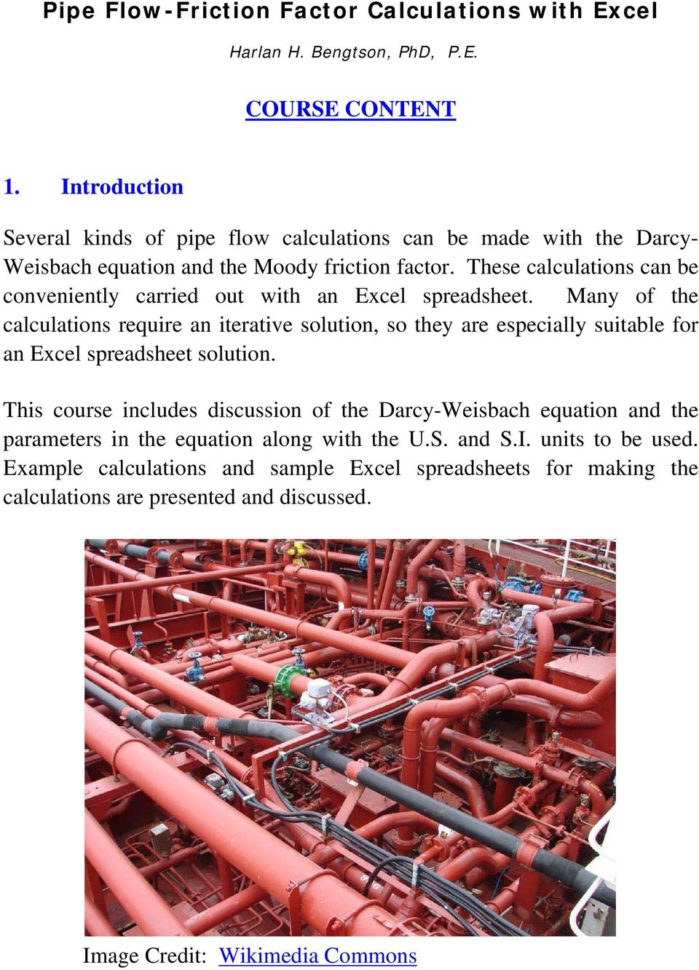 Excel Spreadsheets For Piping Calculations Inside Pipe Flowfriction Factor Calculations With Excel  Pdf