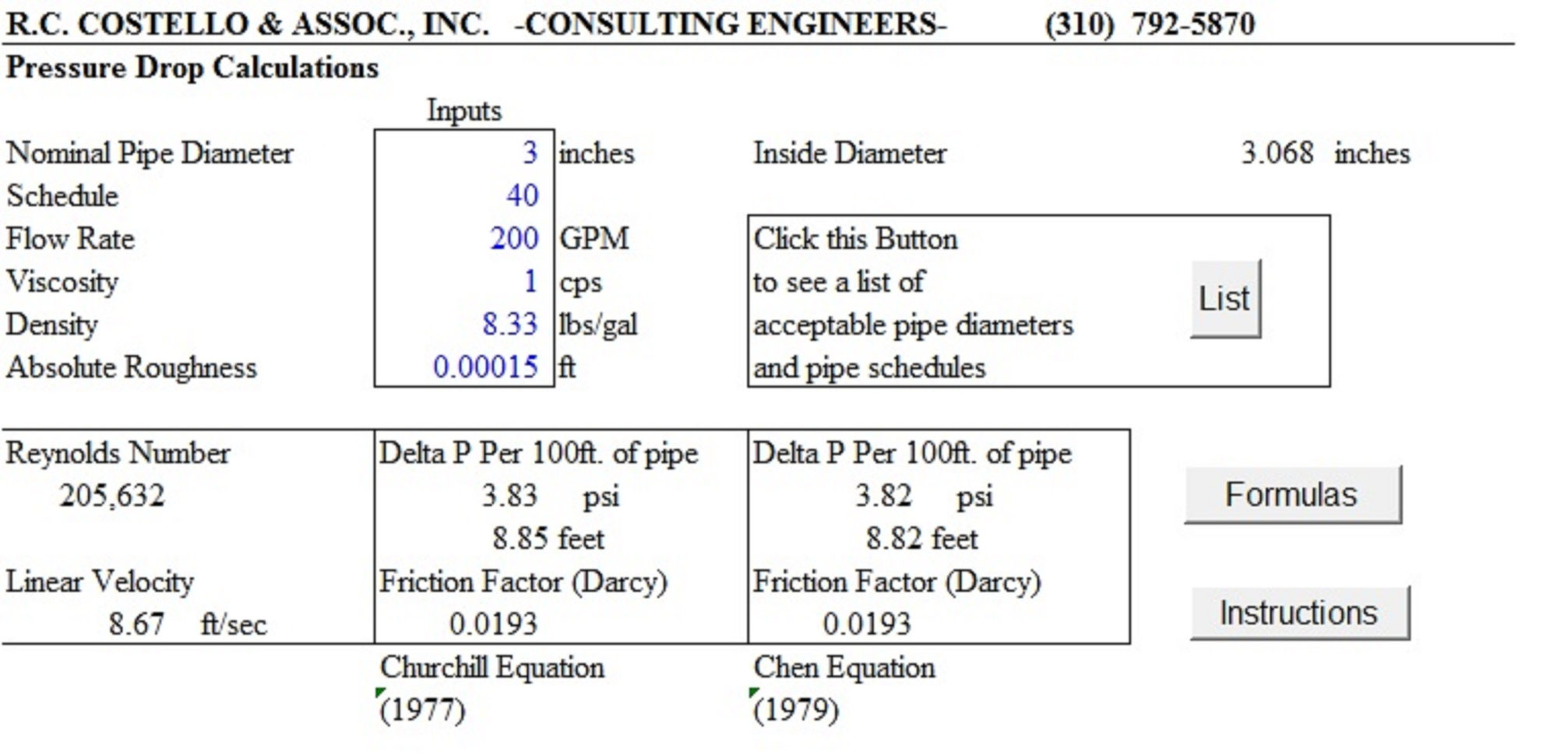 Excel Spreadsheets For Piping Calculations Throughout Pipeflow 3.0  A Pressure Drop Calculator – Costello