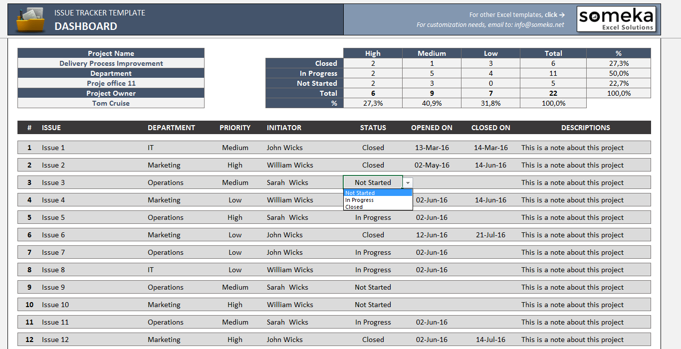 Excel Tracking Spreadsheet In Issue Tracker  Free Excel Template To Track Project Management Issues