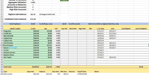 Excel Tracking Spreadsheet Within Credit Card Utilization Tracking Spreadsheet  Credit Warriors