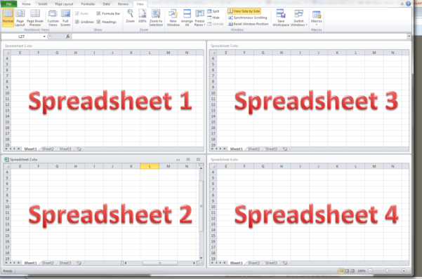 Excell Spreadsheets With How Do I View Two Excel Spreadsheets At A Time?  Libroediting