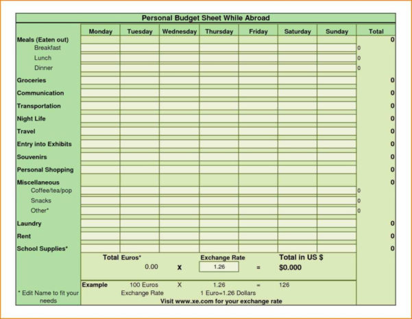 Exchange Rate Spreadsheet Inside Household Budget Sheet Template And Example Bud Spreadsheet Sample