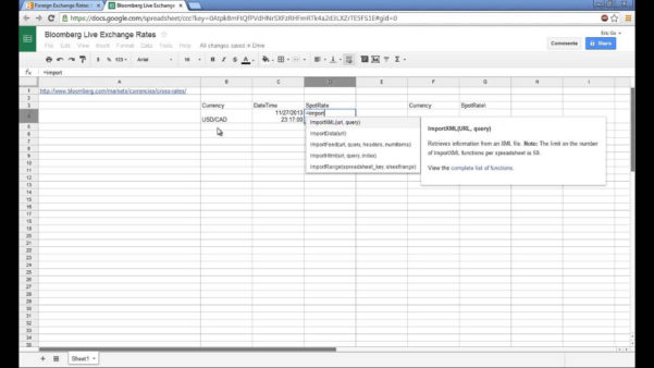 Exchange Rate Spreadsheet Pertaining To How To Scrape Data From The Web Using Google Spreadsheet – Youtube