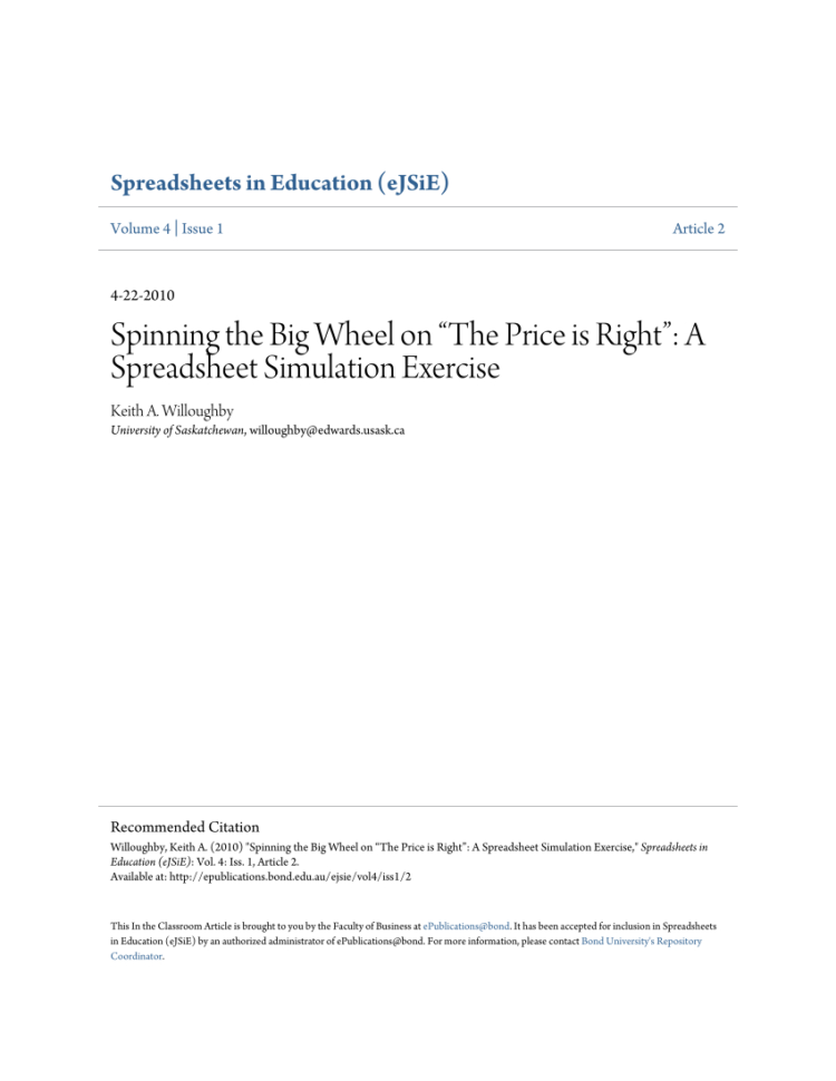 """Exercise Spreadsheet For Pdf Spinning The Big Wheel On """"The Price Is Right"""": A Spreadsheet"""