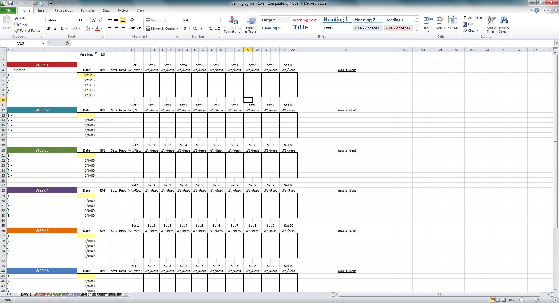 Exercise Spreadsheet Pertaining To Niel K. Patel: Download: Training Log Spreadsheet