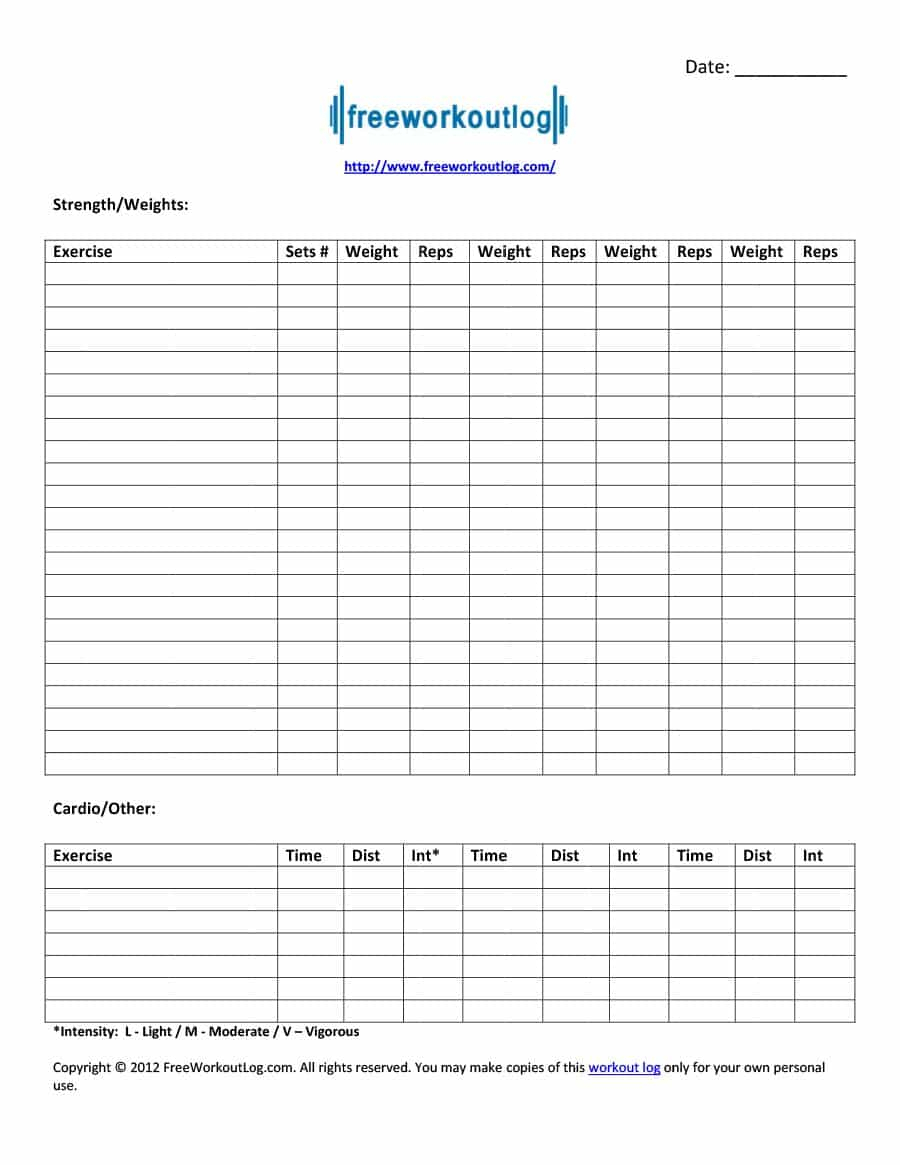 Exercise Spreadsheet Throughout 40  Effective Workout Log  Calendar Templates  Template Lab