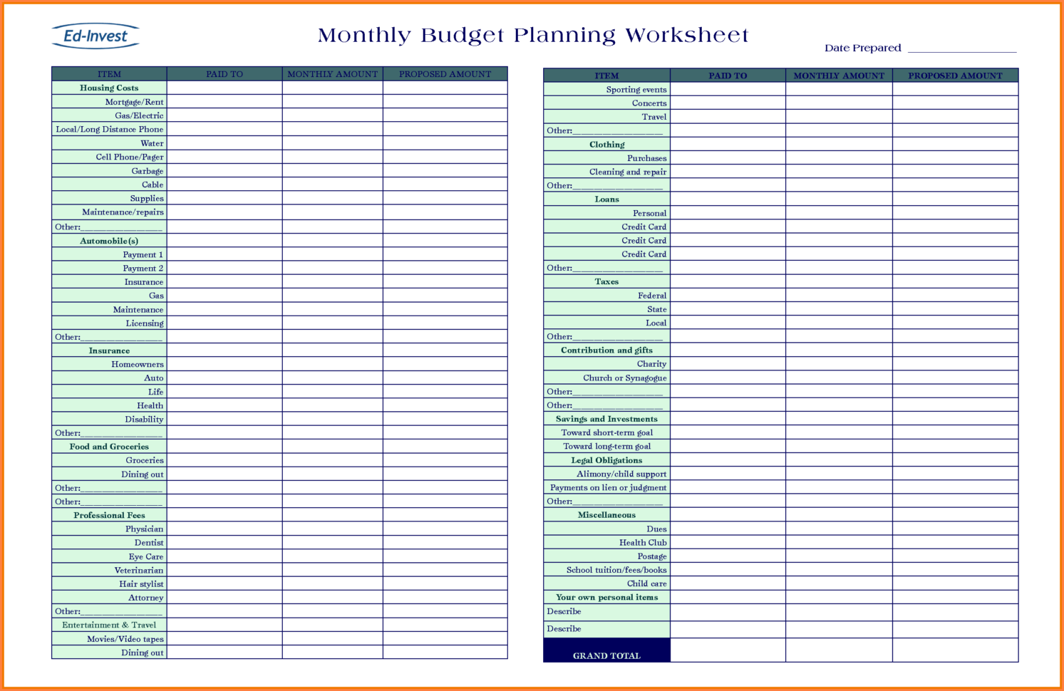 Expenditure Spreadsheet Throughout Business Expenditure Spreadsheet And 9 Bud Planning Spreadsheet