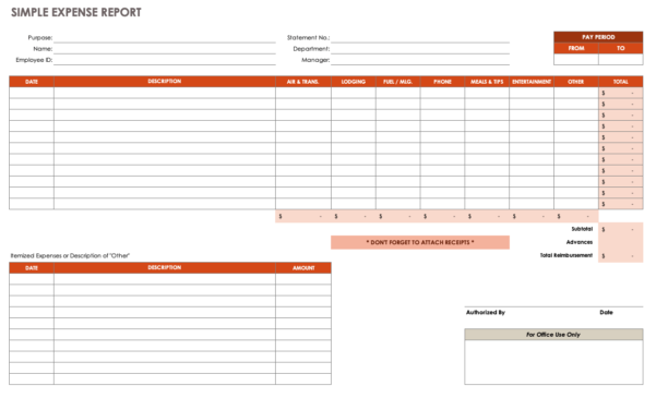 Expense Report Spreadsheet Template Free Within Free Expense Report Templates Smartsheet