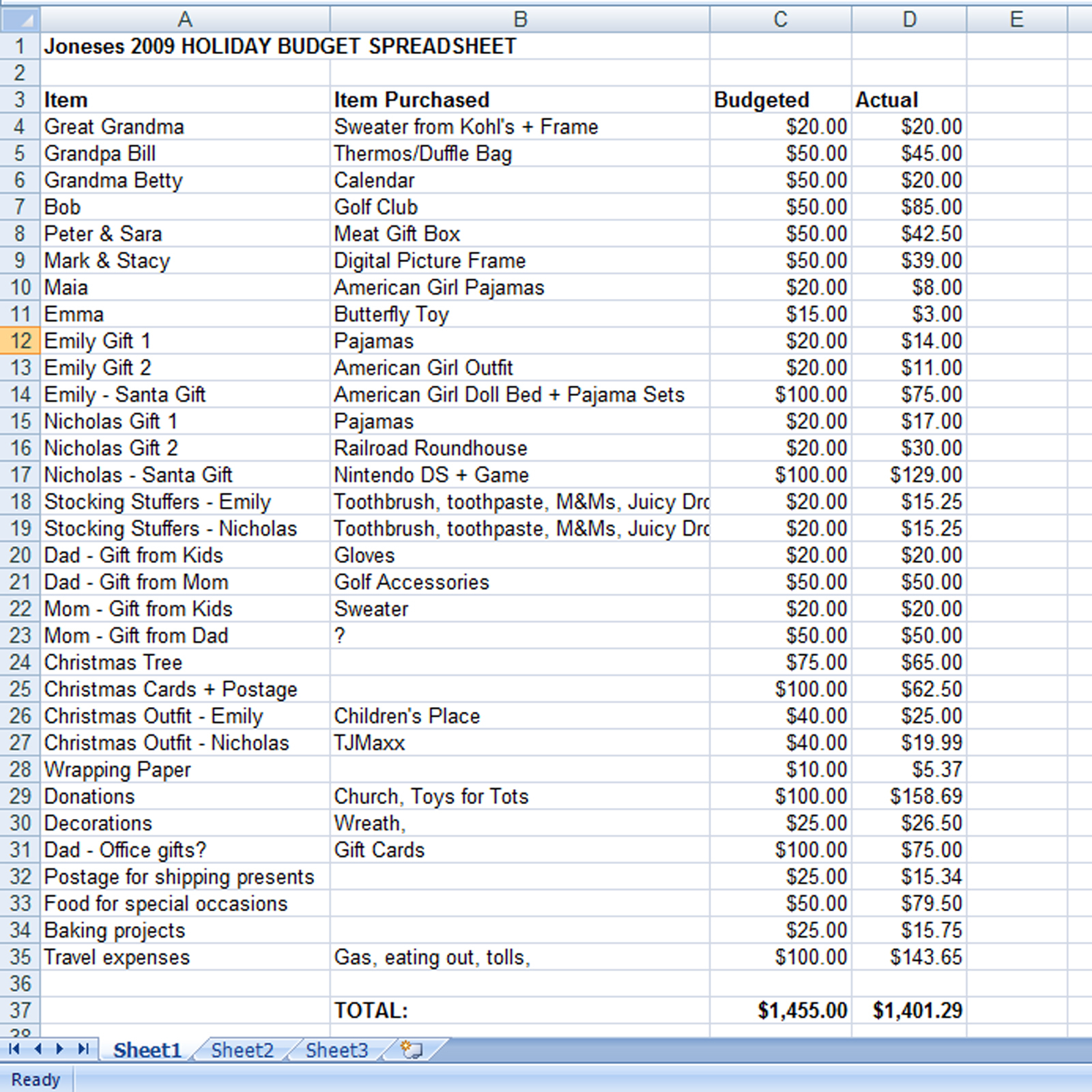 Expenses Spreadsheet Throughout Create A Holiday Gift Expense Spreadsheet  Mommysavers