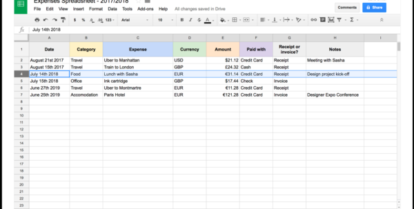 Expenses Spreadsheet With Selfemployed Expenses Spreadsheet