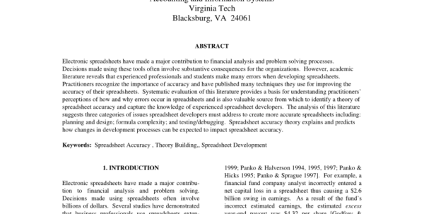 Explain Spreadsheet In Pdf Spreadsheet Accuracy Theory