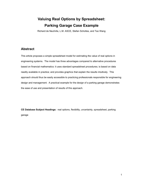 Explain Spreadsheet Throughout Pdf Real Optionsspreadsheet: Parking Garage Case Example