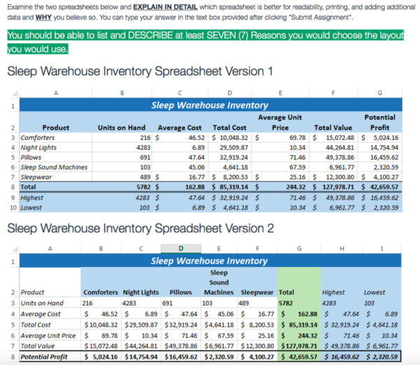 Explain Spreadsheet Within Solved: Examine The Two Spreadsheets Below And Explain In