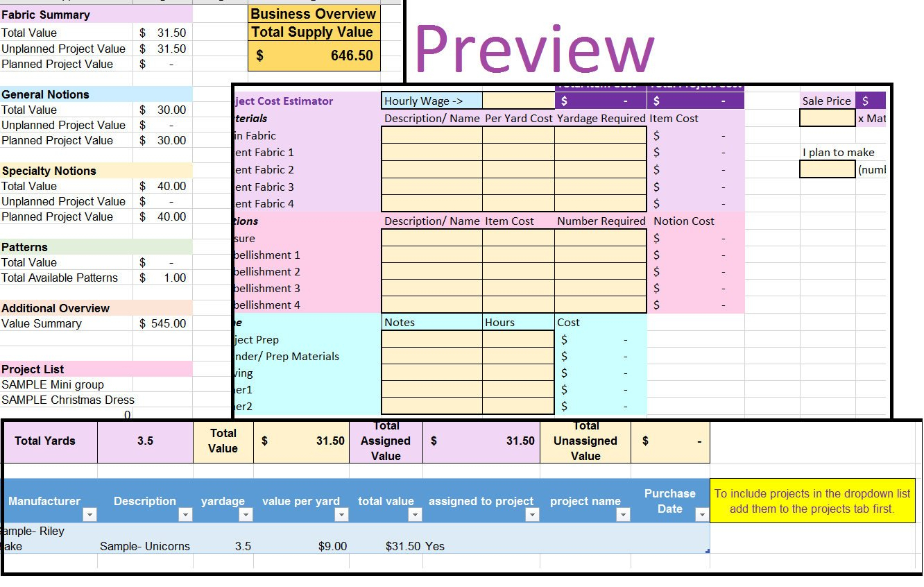 Fabric Inventory Spreadsheet For Sewing Fabric Inventory And Project Planner Spreadsheet Excel  Etsy