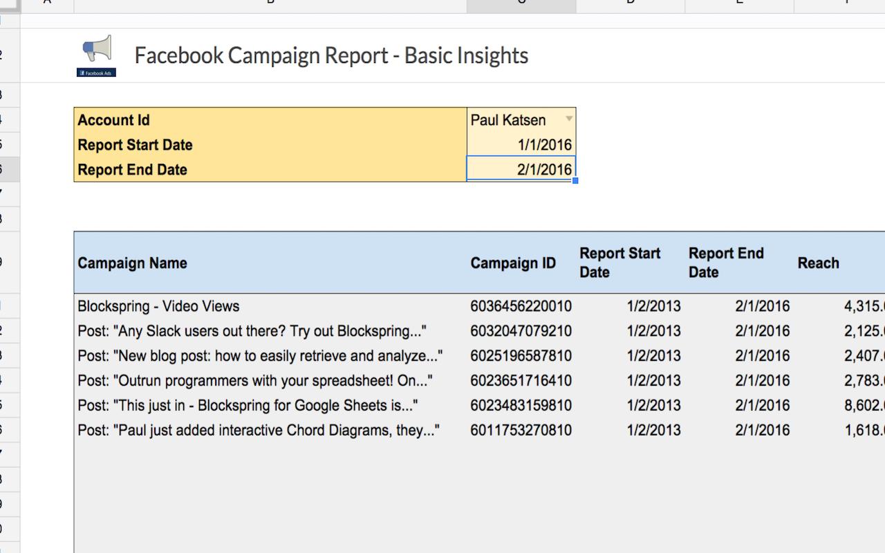 Facebook Ad Spreadsheet Regarding Facebook Campaign Report  Basic Insights  Spreadsheet Template In