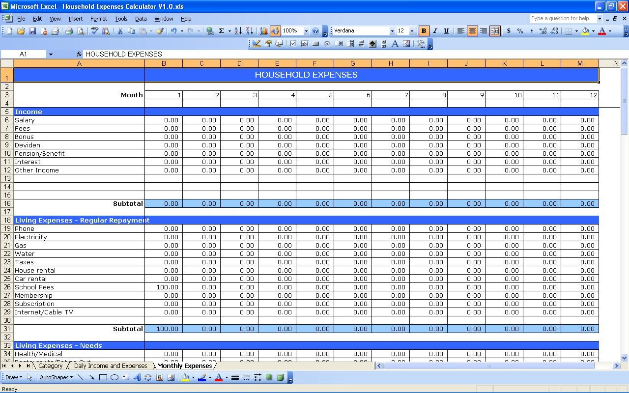 Family Expenses Spreadsheet Regarding Household Expenses  Excel Templates